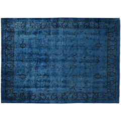 Silky Wool Overdyed Royal Blue Rug