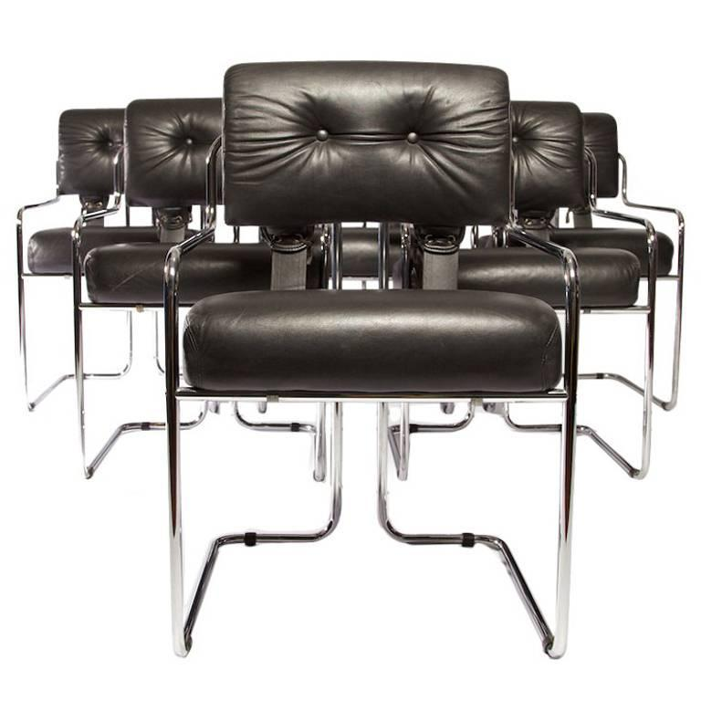 "Set of 12 Pace Faleschini Leather and Chrome ""Tucroma"" Chairs"