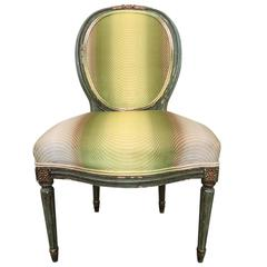 19th Century French Fauteuil Chair with Green Ombre Velvet by Vervain