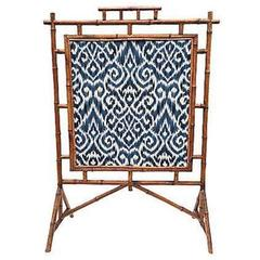 19th Century Bamboo Fire Screen with Blue Ikat and Cream Linen Fabric
