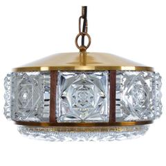 Pressed Glass Pendant by Danish Vitrika, 1960s. Gorgeous Hollywood Regency Light