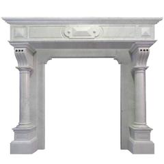 Antique 20th Century Arts and Craft Continental Tall Carrara Marble Surround