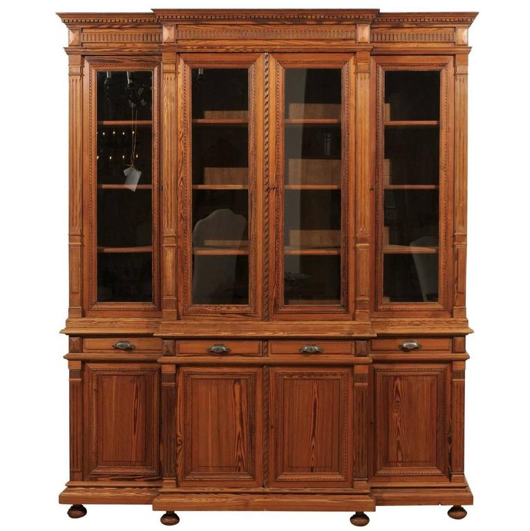 French Pitch Pine Glass Doors Breakfront Bookcase from the Turn of the Century For Sale