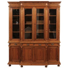 French Pitch Pine Glass Doors Breakfront Bookcase from the Turn of the Century