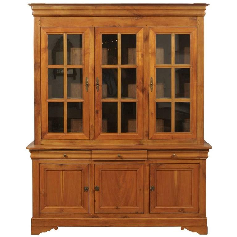French Glass Kitchen Cabinet Doors: French 1900s Cherry Wood Two Part Cabinet With Inset Glass
