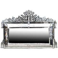 Vintage Large Venetian Overmantel Mirror