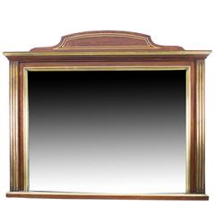 Antique Mahogany Brass Inlaid over Mantle Mirror, circa 1900