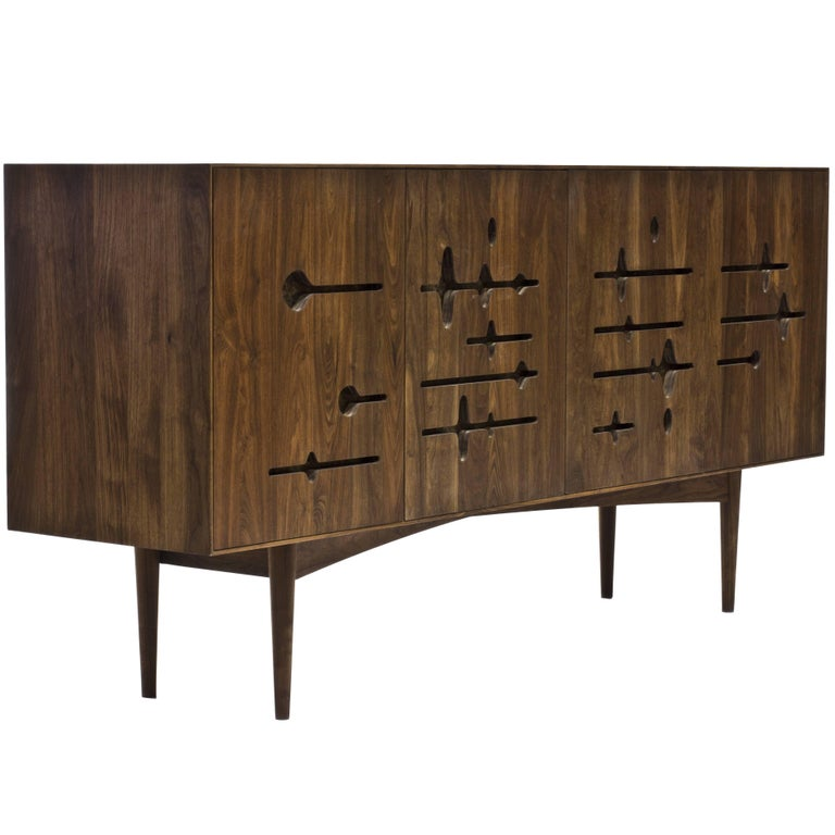 Sine Wave Console in Oiled Walnut and Mica by Michael Dreeben for Wooda For Sale