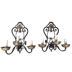 Pair of Circa 1920s French Hand Wrought Iron Three-Arm Sconces, Gilt Detail