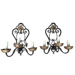 Pair of Circa 1920s French Hand Wrought Iron Sconces