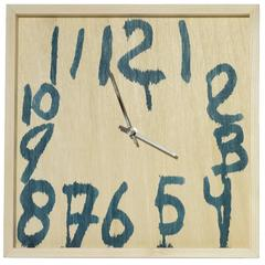 Hand-Painted Wood Wall Clock by Lucas Maassen & Sons in Blue