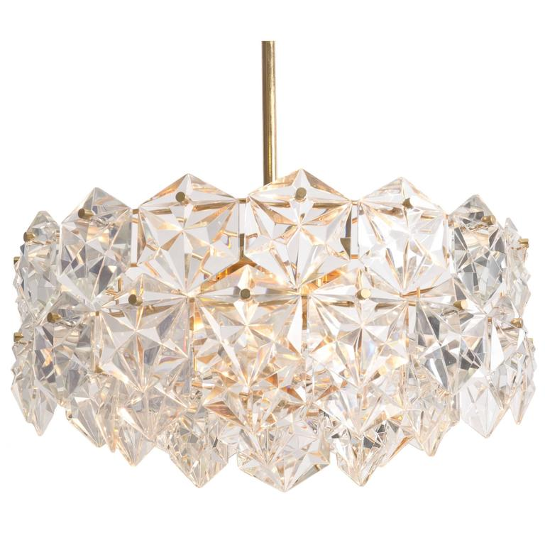 Stunning Faceted Crystal and Gilt Metal Four-Tier Chandelier by Kinkeldey, 1970s
