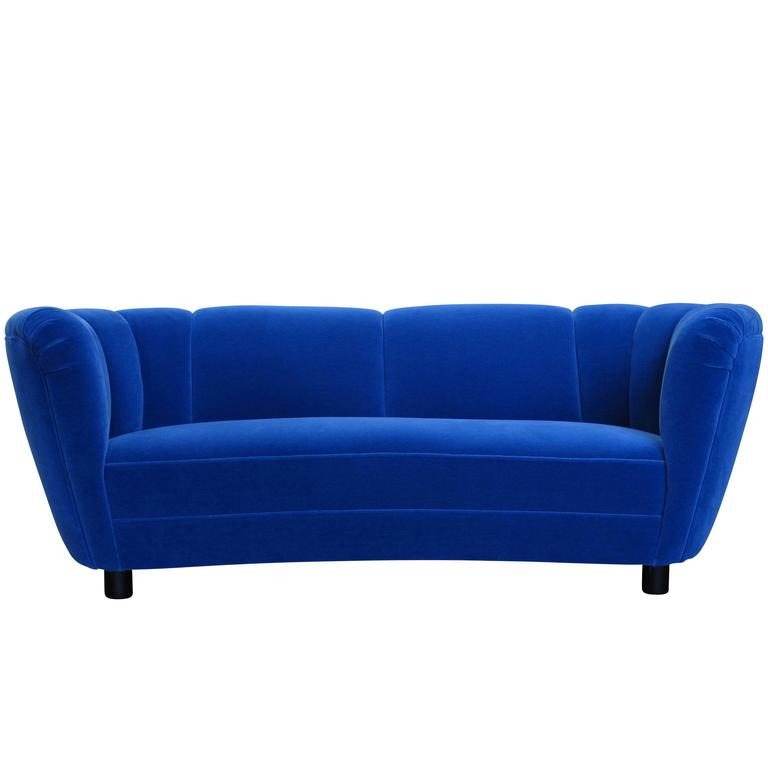 1930s Danish Deco Blue Mohair Sofa For Sale At 1stdibs