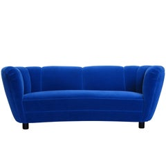 1930s Danish Deco Blue Mohair Sofa