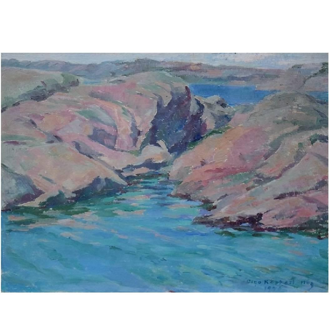 Unknown Artist, Dated 1946, Landscape with Skerries, Oil on Panel