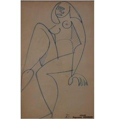 Raymond Trameau French Artist, Naked Woman in Cubist Style