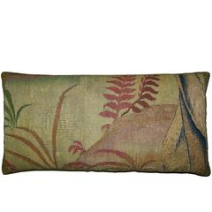 Antique Brussels Tapestry Pillow, circa 17th Century