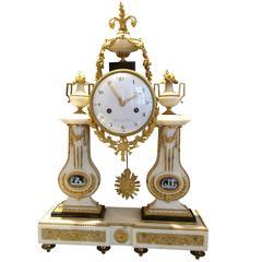 18th Century Carrara Marble Ormolu Mantel Clock