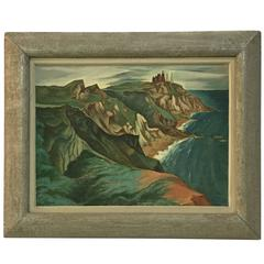 "Francis Peabody Colburn 1930s ""Cliffs"" Block Island Painting"