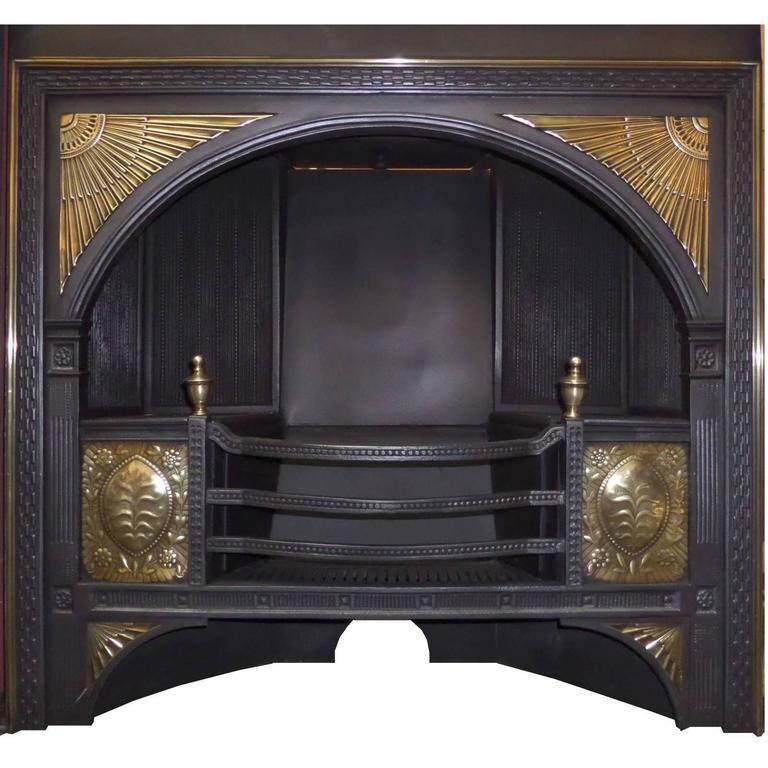 19th century Georgian Hob Grate Brass / Cast Iron Fireplace Insert ...