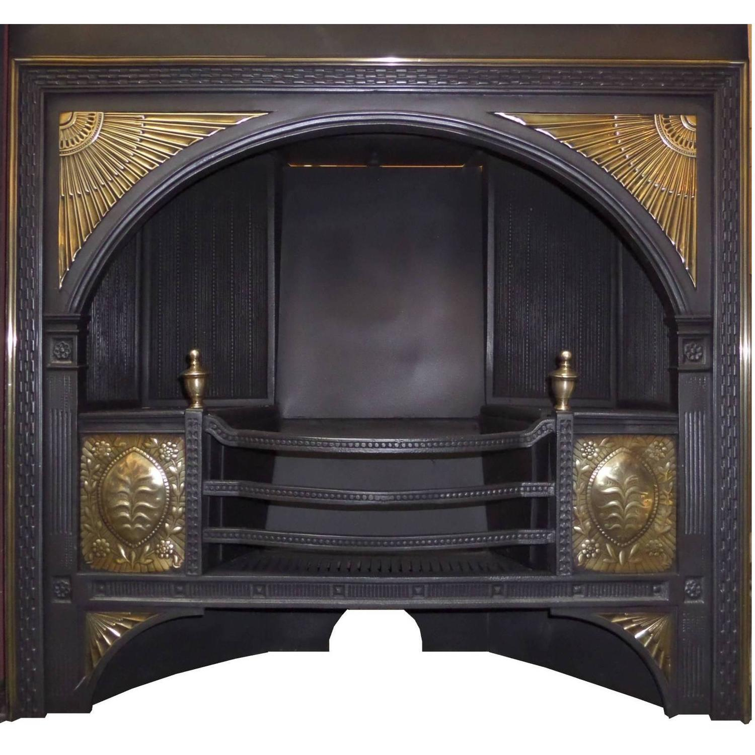 19th century georgian hob grate brass cast iron fireplace insert