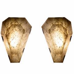 Pair of Diamond Form Smoky Brown Rock Crystal Sconces