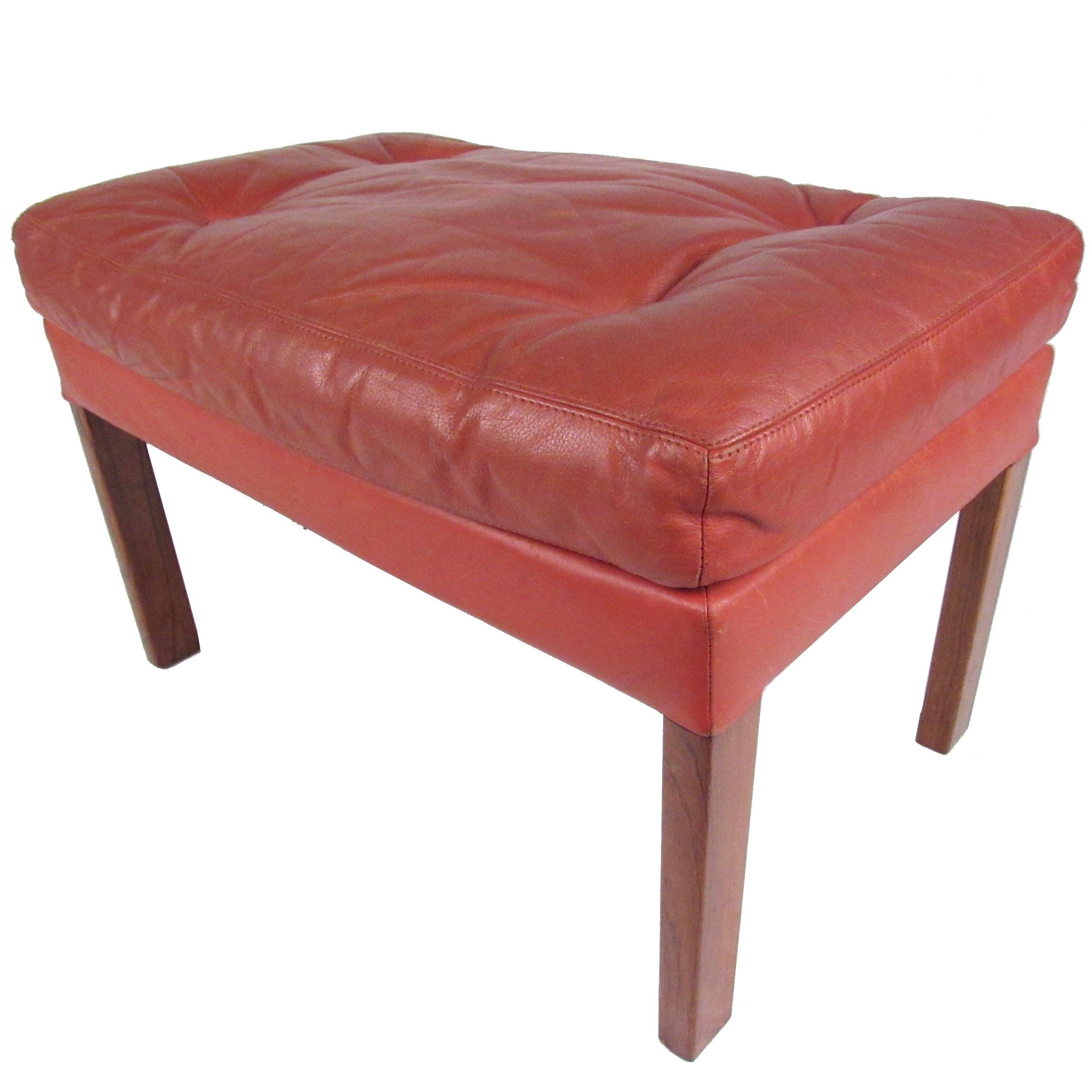 Danish Modern Tufted Leather Ottoman