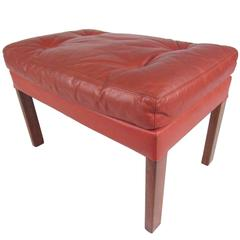 Danish Modern Tufted Leather Ottoman