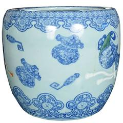 Early 20th Century Japanese Blue and White Hibachi Vessel