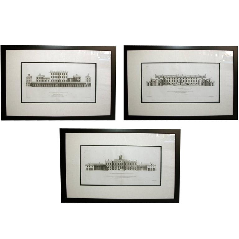 Rare Set of Three English Architectural Copper Engravings by Colen Campbell For Sale