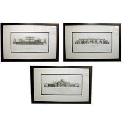 Rare Set of Three English Architectural Copper Engravings by Colen Campbell