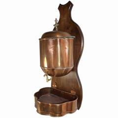 French Copper Lavabo on Walnut Wall Mount, circa 1890