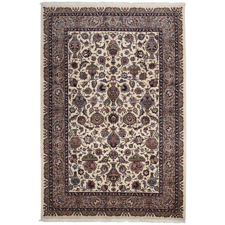 Authentic Persian Kashmar Hand-Knotted Area Rug