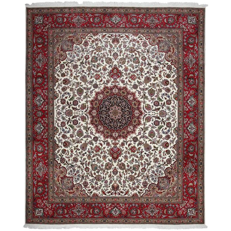 Authentic Persian Tabriz Hand-Knotted Area Rug