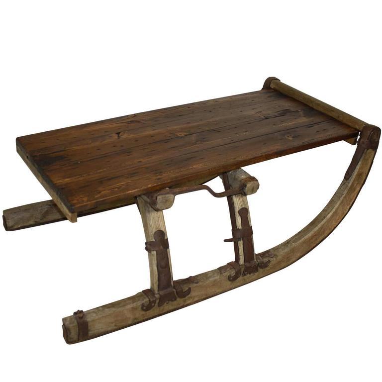 Re purposed russian sleigh coffee table for sale at 1stdibs for Sled coffee table