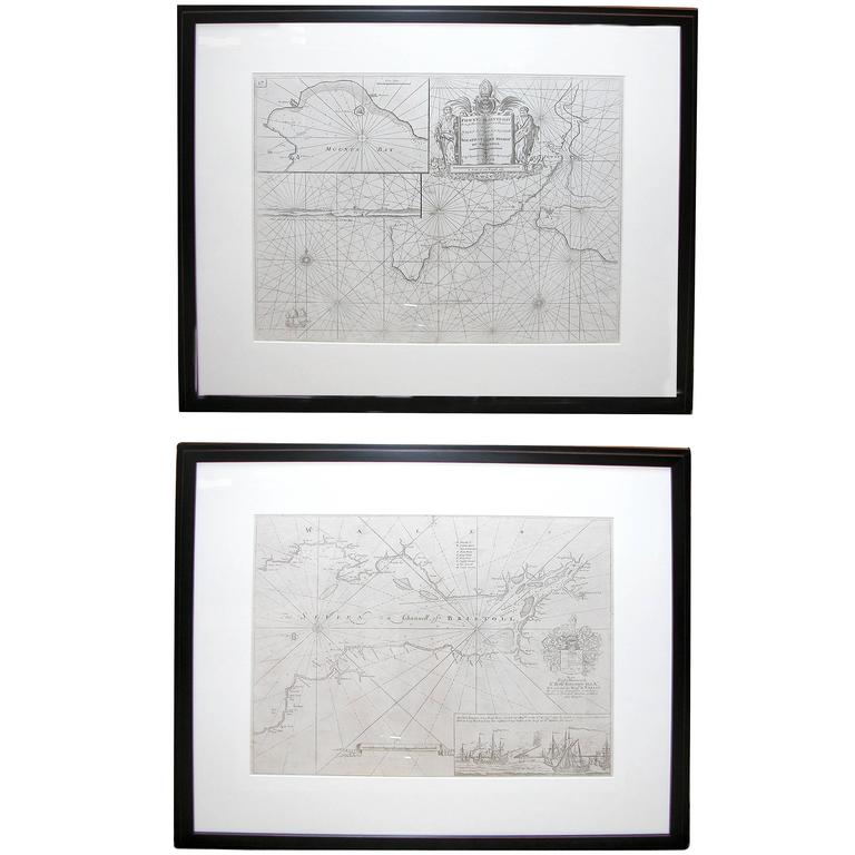 Handsome Pair of Framed Sea Charts by Captain Greenvile Collins For Sale