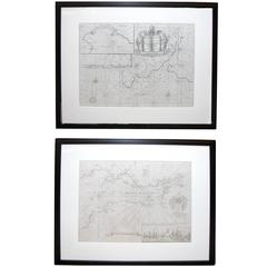 Handsome Pair of Framed Sea Charts by Captain Greenvile Collins