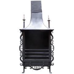 Antique Edwardian Arts & Craft Canopy Fireplace Fire Grate