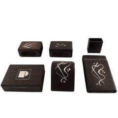 Danish Design Set of Six Parts Rosewood with Silver Inlay, Box, Notepad and More