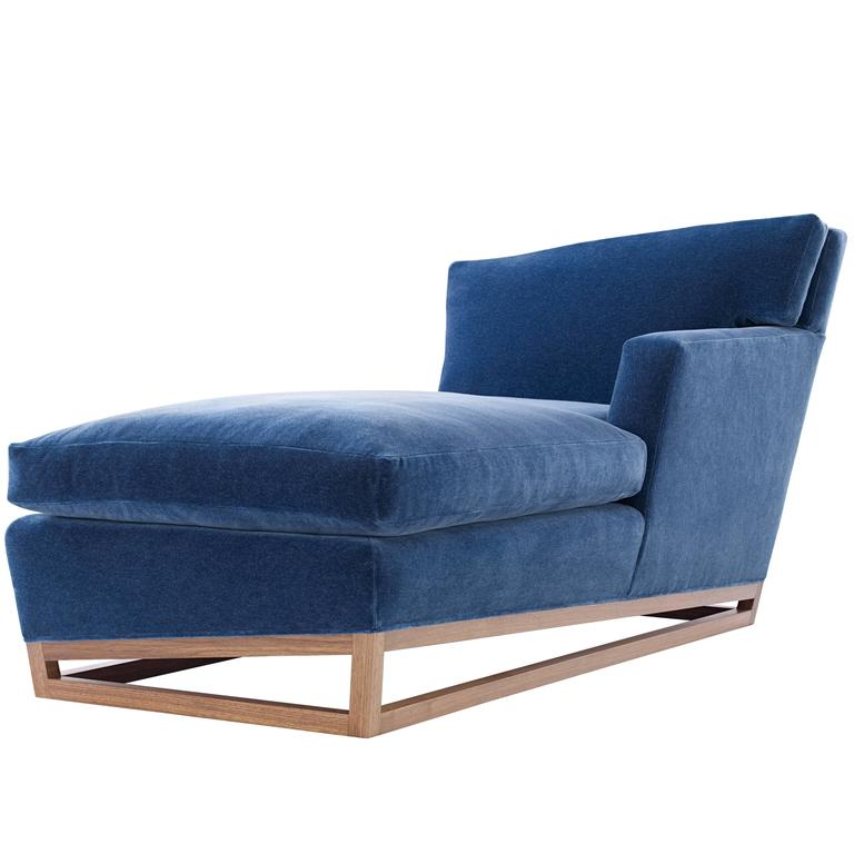 Handmade Contemporary/Modern Chaise Longue/Lounge in Velvet with Walnut Base