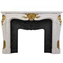 """Païva"" Louis XV Style Fireplace in Carrara White Marble and Gilded Bronze"