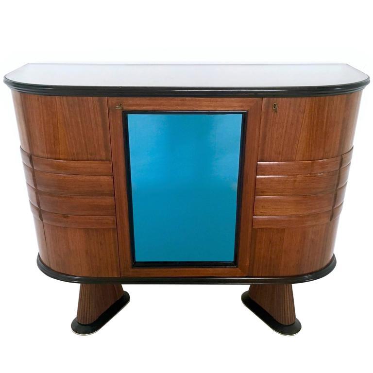 Italian Wood and Blue Mirror Bar Cabinet, 1950s