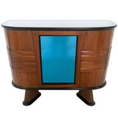 Italian Wood and Blue Mirror Bar Cabinet, 1950s