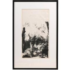 "Edward McCluney Signed Etching ""Day Dreaming"""