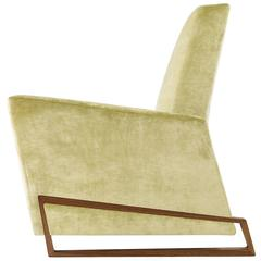 New Handmade Contemporary/Modern, Arm/Club Chair, Velvet Fabric with Walnut Base