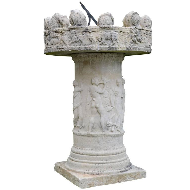 Old Composite Stone Altar Serving as Sundial, 19th Century