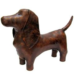 1970s Omersa Leather Basset Hound Footstool