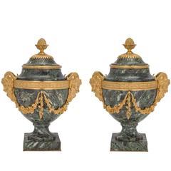 French 19th Century Louis XVI St. Belle Époque Period Vert Antique Marble Urns