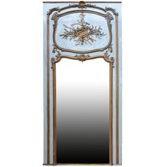 Louis XV Period Gilded Wood and Lacquered Grey Trumeau, 19th Century