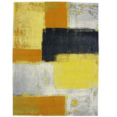 Modern Style Rug with Contemporary Abstract Color Block Texture